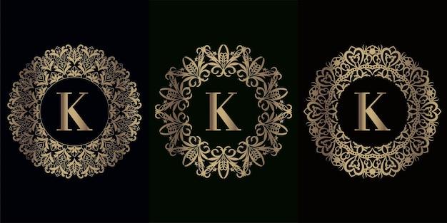 고급 만다라 장식 프레임이있는 로고 이니셜 k 컬렉션