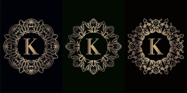 고급 만다라 장식 프레임이 있는 로고 이니셜 k 컬렉션