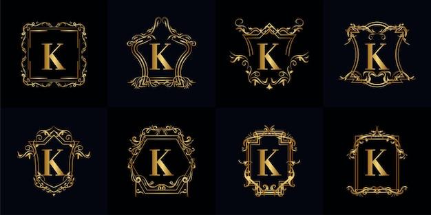 로고 이니셜 k 컬렉션 럭셔리 장식