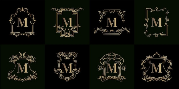 고급 장식 또는 꽃 프레임이있는 로고 이니셜 m 컬렉션