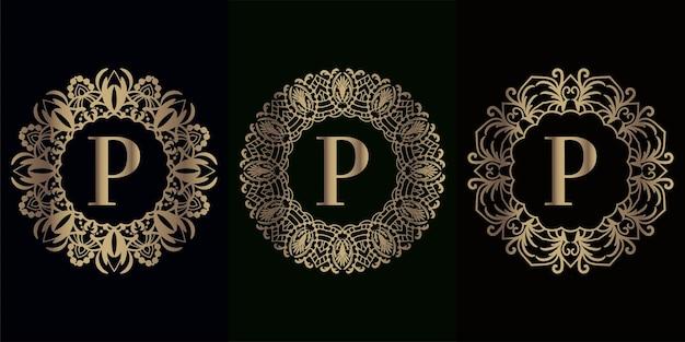 럭셔리 만다라 장식 프레임이있는 로고 이니셜 p 컬렉션