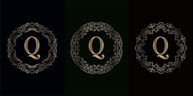 고급 만다라 장식 프레임이있는 로고 이니셜 q 컬렉션
