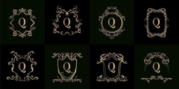 豪華な飾りや花のフレームが付いたロゴの最初のqのコレクション