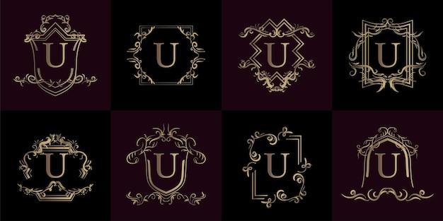 고급 장식 또는 꽃 프레임이 있는 로고 초기 u 컬렉션
