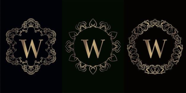 고급 만다라 장식 프레임이있는 로고 이니셜 w 컬렉션