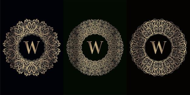 豪華な曼荼羅飾りフレーム付きロゴイニシャルwのコレクション
