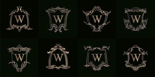 고급 장식 또는 꽃 프레임이 있는 로고 이니셜 w 컬렉션