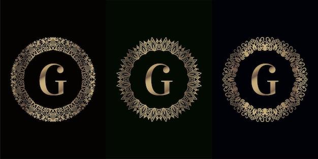 豪華な曼荼羅飾りフレームでイニシャルのロゴのコレクション