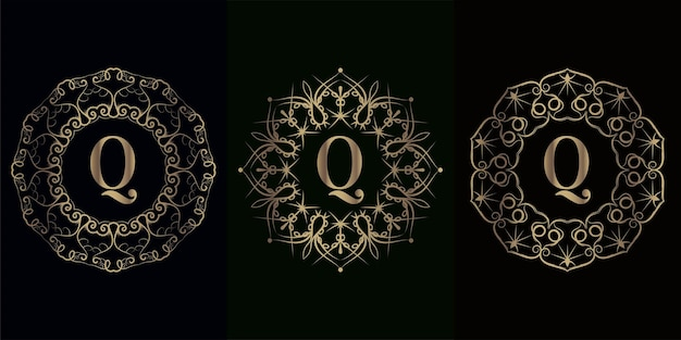 豪華な曼荼羅飾りフレームで最初のロゴのコレクション