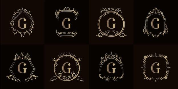 고급 장식 또는 꽃 프레임이있는 로고 이니셜 컬렉션