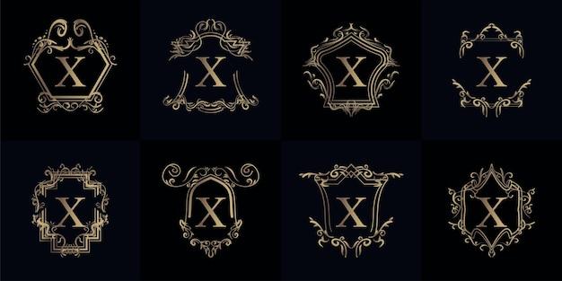고급 장식 또는 꽃 프레임이있는 로고 이니셜 x 컬렉션