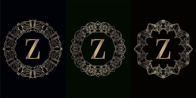 고급 만다라 장식 프레임이 있는 로고 이니셜 z 컬렉션