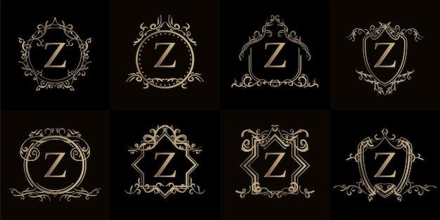 고급 장식 또는 꽃 프레임이 있는 로고 이니셜 z 컬렉션