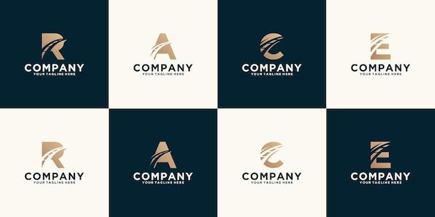交通道路のデザインテンプレートとロゴのモノグラムイニシャルのコレクション