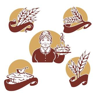 あなたのパン屋のロゴ、シンボル、ラベル、エンブレムのコレクション