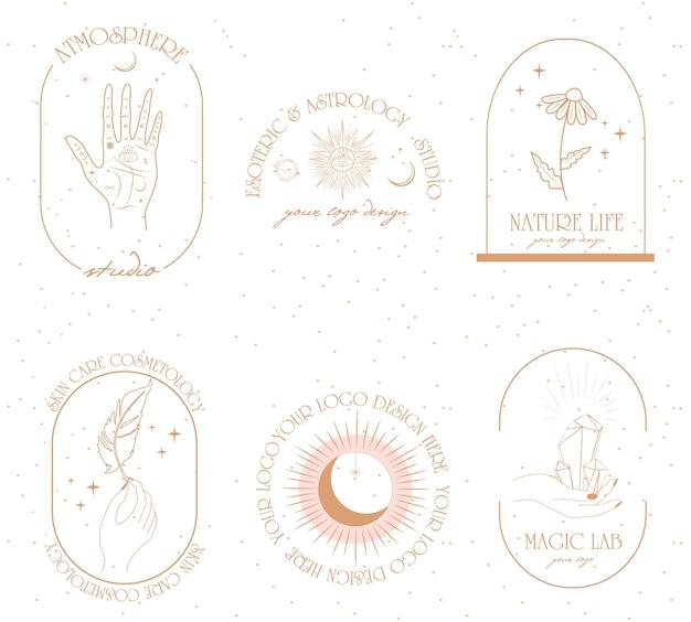 Коллекция логотипов и иконок в стиле рисованной.