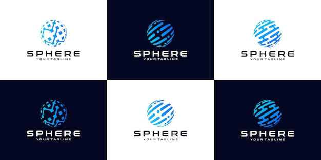 ロゴ、球体、ロゴ、グローブ、波、円、周り、テクノロジー、世界のシンボルデザインのコレクション