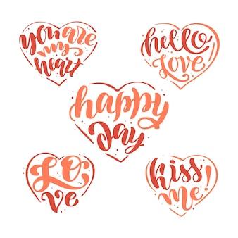 愛についてのレタリングフレーズを含むロゴのコレクション。手書きの書道テキストハッピーバレンタインデー。