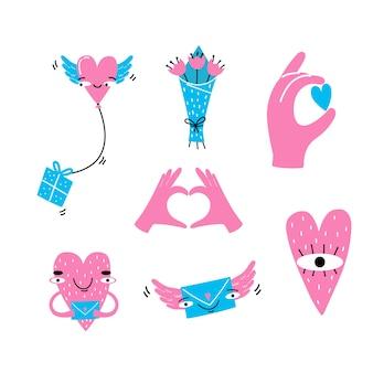 Коллекция элементов любви для дизайна поздравительных открыток.