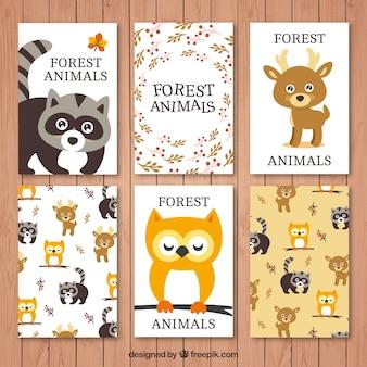 Коллекция прекрасных лесных животных карт