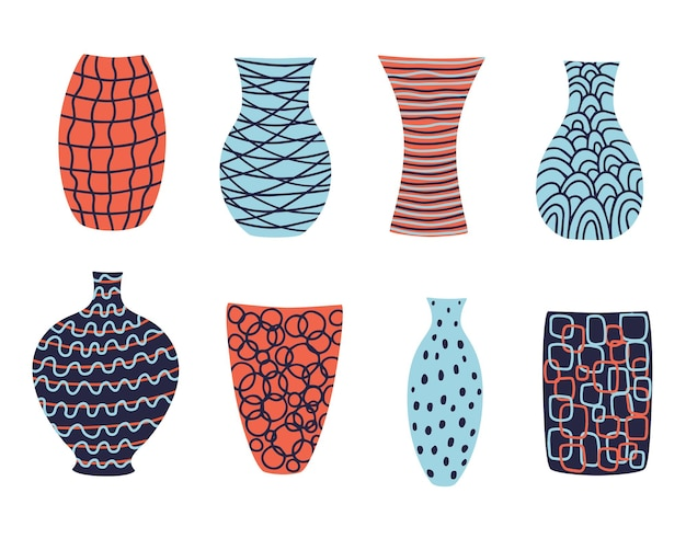 디자인을 위한 사랑스럽고 현대적인 다채로운 꽃병 컬렉션입니다.