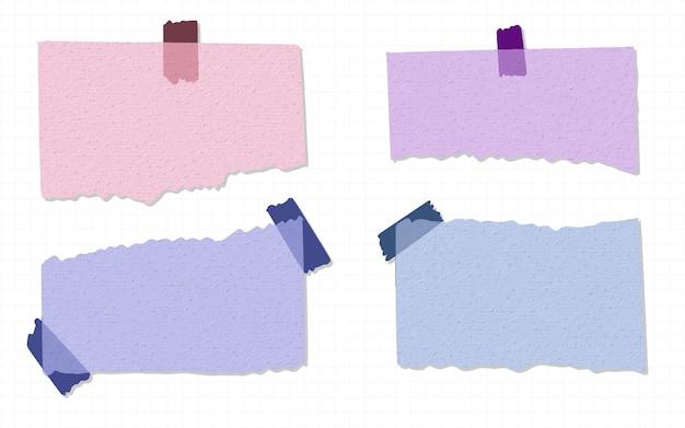 사랑스러운 찢어진 종이 다채로운 손으로 그린 수채화의 컬렉션
