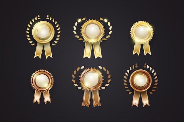 豪華な金および銅メダルのコレクション