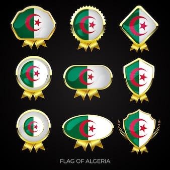 Коллекция роскошных золотых значков флага алжира