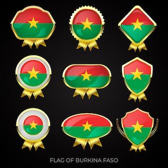 ブルキナファソの豪華な金色の旗バッジのコレクション