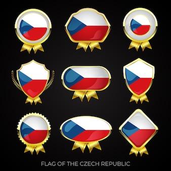 Коллекция роскошных значков с золотым флагом чехии
