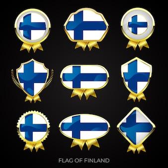 Коллекция роскошных значков с золотым флагом финляндии