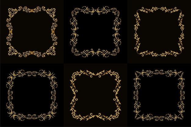 Коллекция роскошного орнамента или цветочной рамки