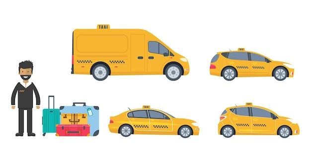 흰색 배경에 격리된 기계 노란색 택시, 트럭, 운전사 및 수하물의 컬렉션입니다. 공공 택시 서비스 개념입니다. 평면 벡터 일러스트 레이 션.