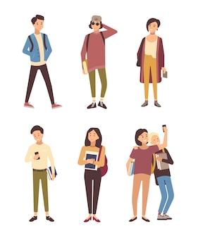 白い背景で隔離のモダンな服を着た男性と女性の学生のコレクション。本を運ぶ若い男性と女性のセットです。フラットな漫画のキャラクターのバンドル。ベクトルイラスト。