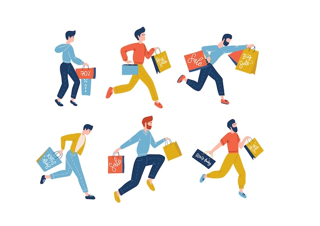 男性の買い物客のコレクション
