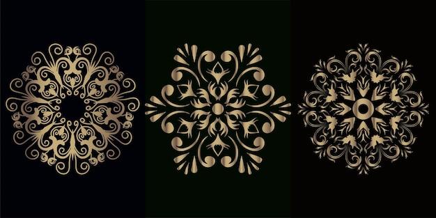 マンダラの飾りや花のコレクション