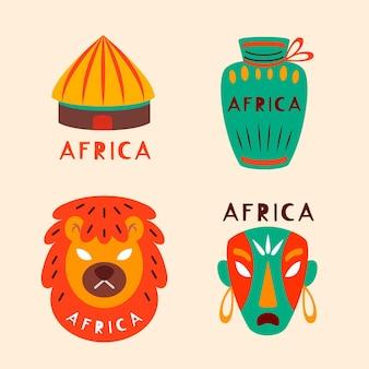 マスクとオブジェクトのコレクションアフリカのロゴ