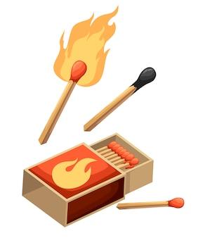 マッチのコレクション。火で燃えるマッチ、開いたマッチ箱、焦げたマッチ棒。スタイル。白い背景の上の図