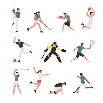 Коллекция мужчин и женщин, занимающихся различными видами спорта.
