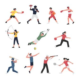 さまざまなスポーツ活動をしている男性と女性のコレクション。