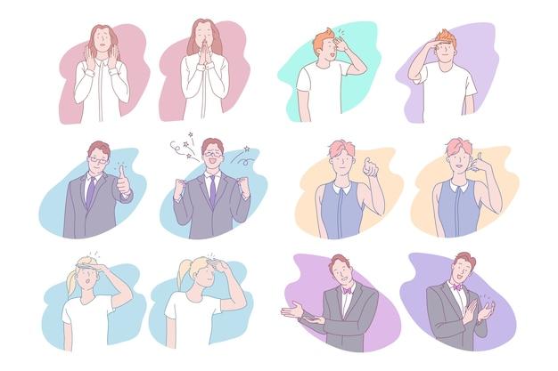 拍手を作る男性女性漫画のキャラクターのコレクション