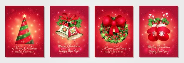 メリークリスマスと新年あけましておめでとうございますグリーティングカードのコレクション