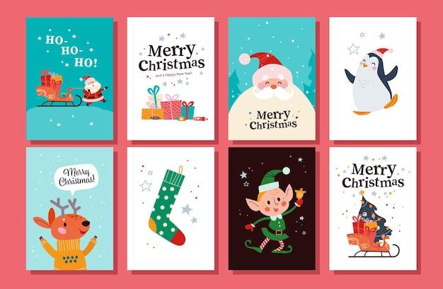 Коллекция поздравительных открыток с рождеством христовым с санта-клаусом, оленем, пингвином, персонажем-эльфом, рождественским чулком, санями, полными подарков, елкой. векторная иллюстрация плоский мультфильм. для баннера отметьте.