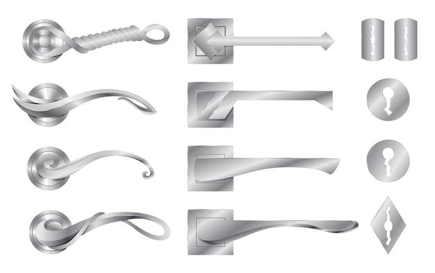 금속 도어 핸들 및 도어록 컬렉션. 현대식 잠금 손잡이, 집 손잡이.