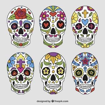 멕시코 두개골의 컬렉션 무료 벡터