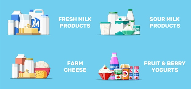 Коллекция молочных продуктов иллюстрации