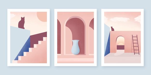Коллекция минималистичных архитектурных обложек