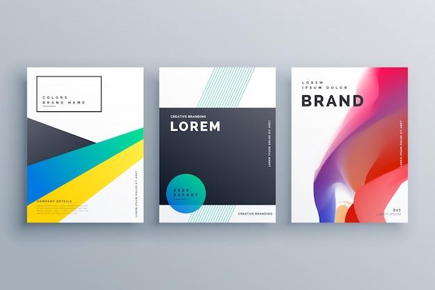 Креативный дизайн брендинга бизнеса с тремя брошюрами в минимальном стиле для презентации