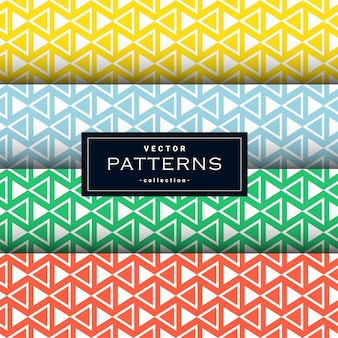 4 가지 색상으로 설정된 최소 삼각형 패턴 모음