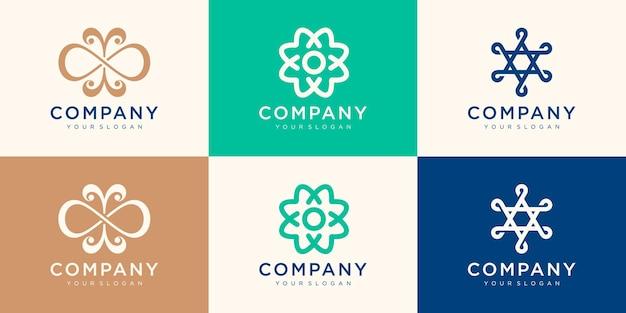 ミニマリストの会社のロゴデザインのコレクション。協会、同盟、団結、チームワークにロゴを使用します。